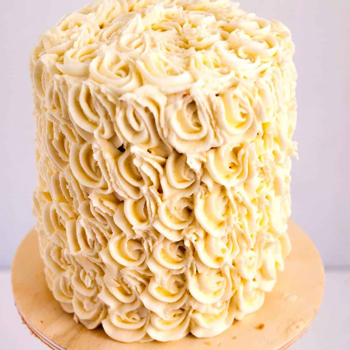 Cake Frosted with Italian frosting.