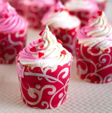 Cupcake frosted with Italian Meringue buttercream.