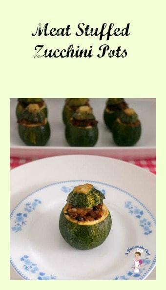 Meat stuffed zucchini pots