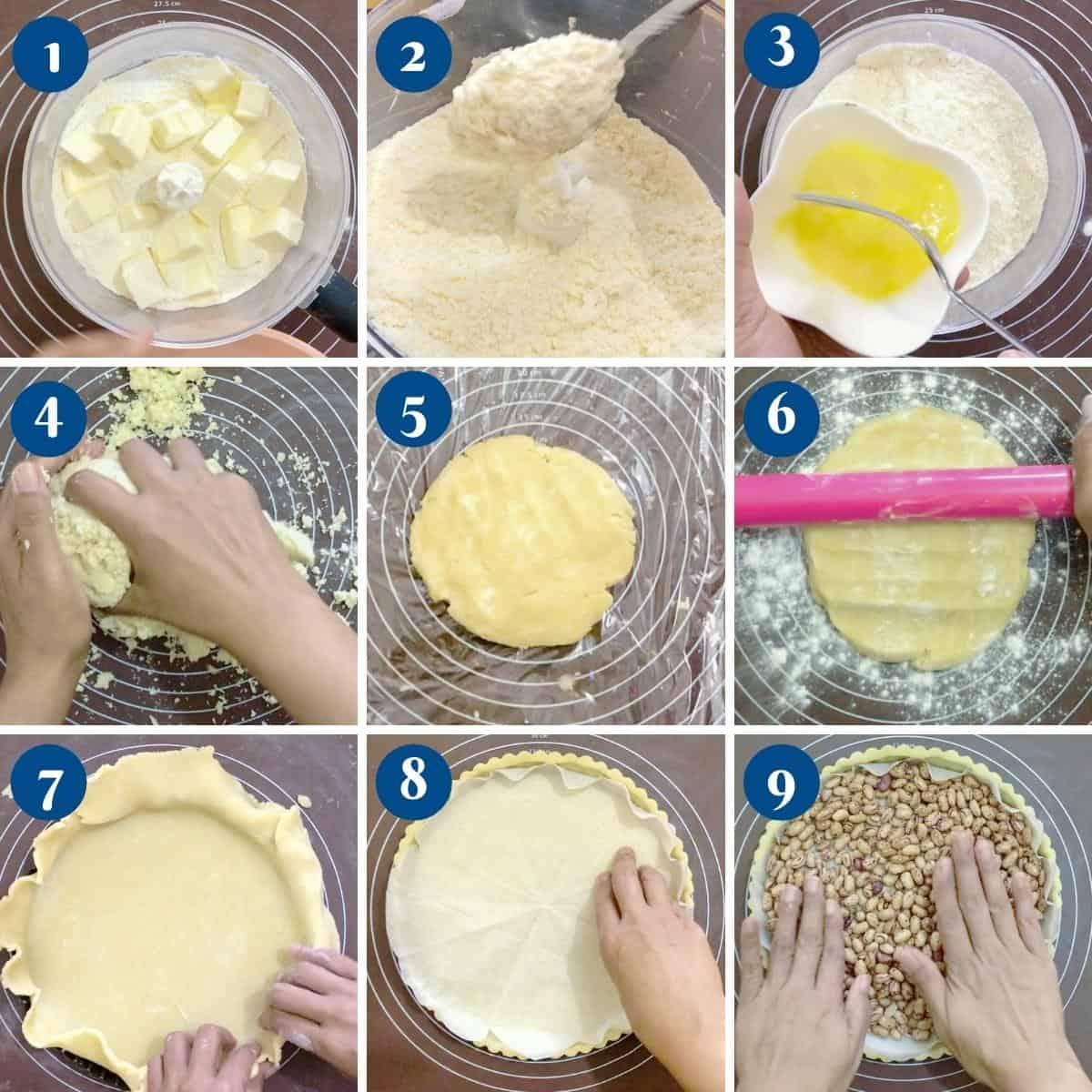 Progress pictures for quiche crust for mushroom quiche.