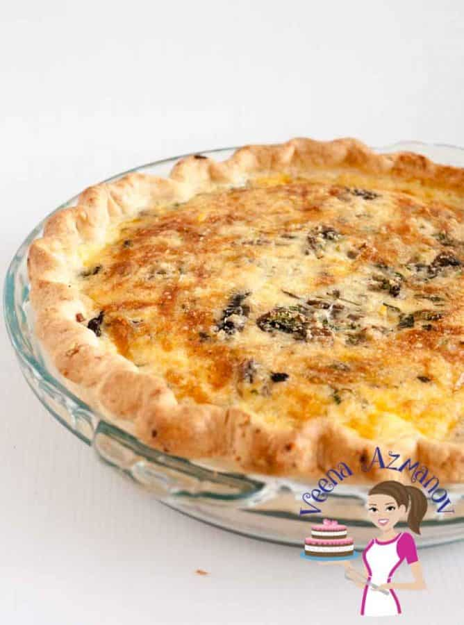 Mushroom quiche in a pie pan.