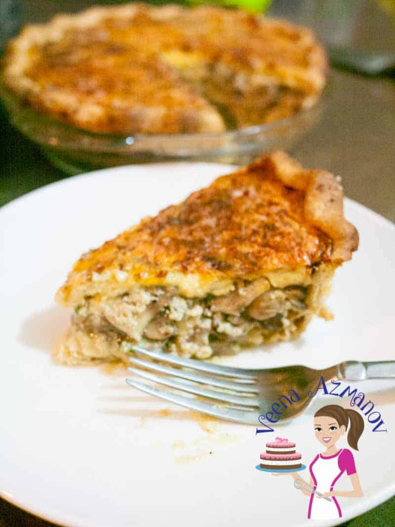 This is the BEST mushroom quiche recipe made from scratch. You can go semi-homemade and use a store-bought pie crust or puff pastry too. The filling is soft creamy and cheesy flavored with garlic nutmeg and Parmesan. A perfect make-ahead dish for entertaining whether its breakfast, lunch or dinner.