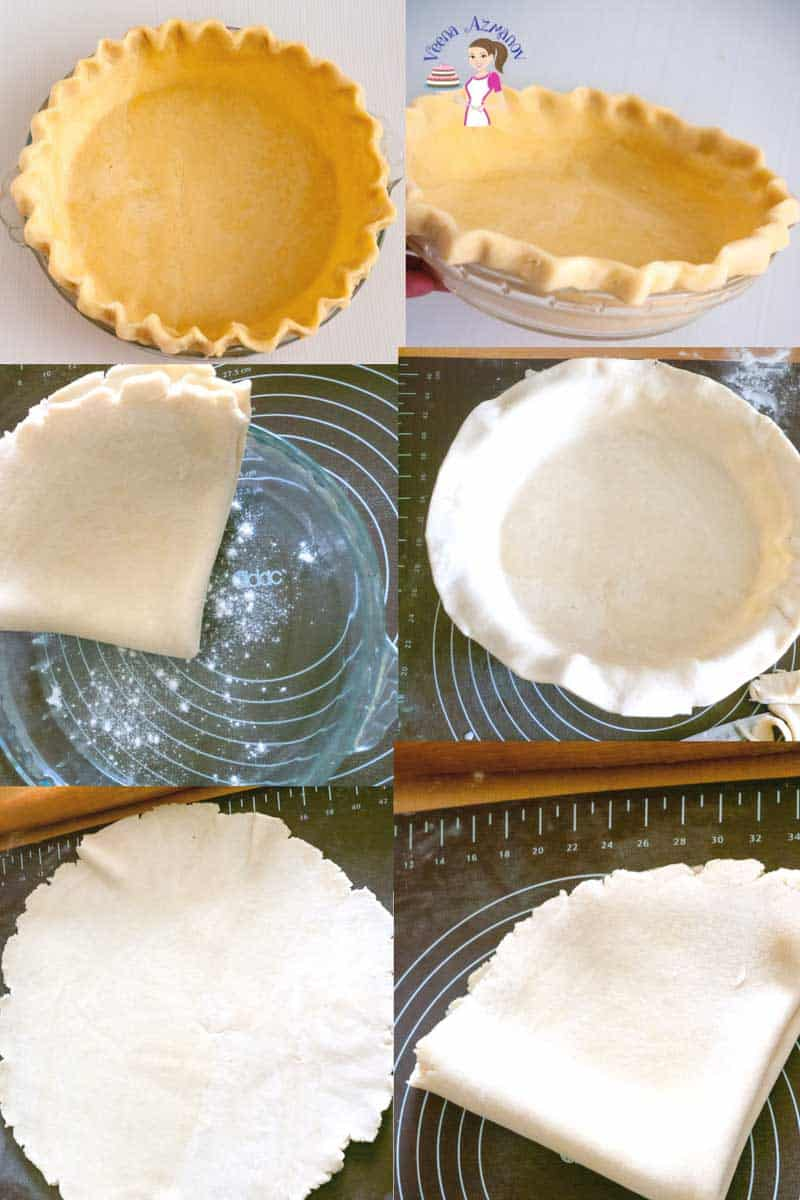 Progress Picture sharing a tip of how to fold and unfold the rolled Pie Crust to transfer to the Pie Pan.