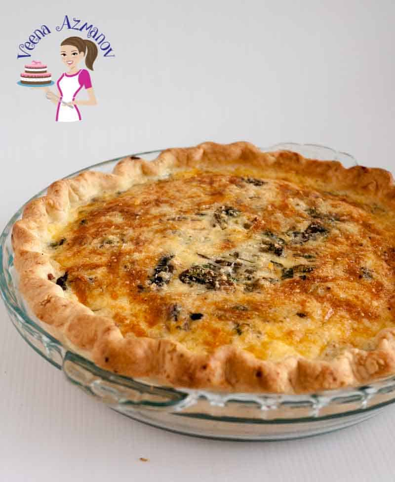 Image showing a baked mushroom quiche using the pie crust made in this tutorial for homemade Pie Crust