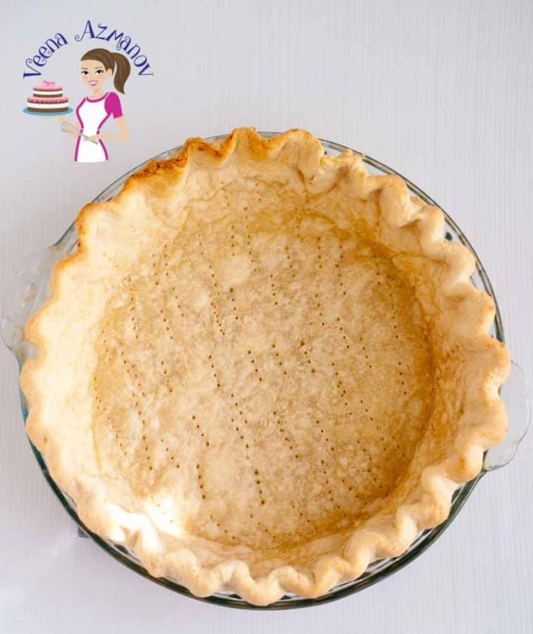 A baked pie crust.