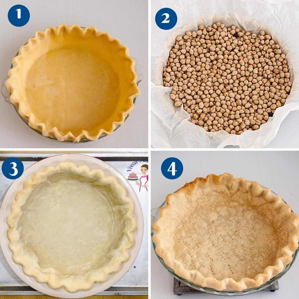 Progress pictures how to fully bake a pie crust.
