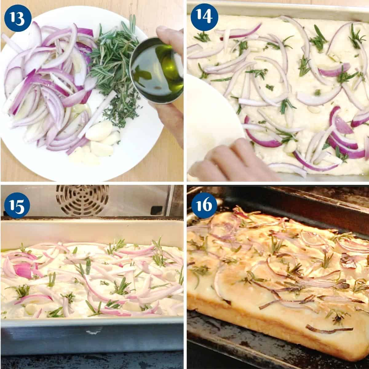 Progress pictures collage adding onion and rosemary on focaccia dough.