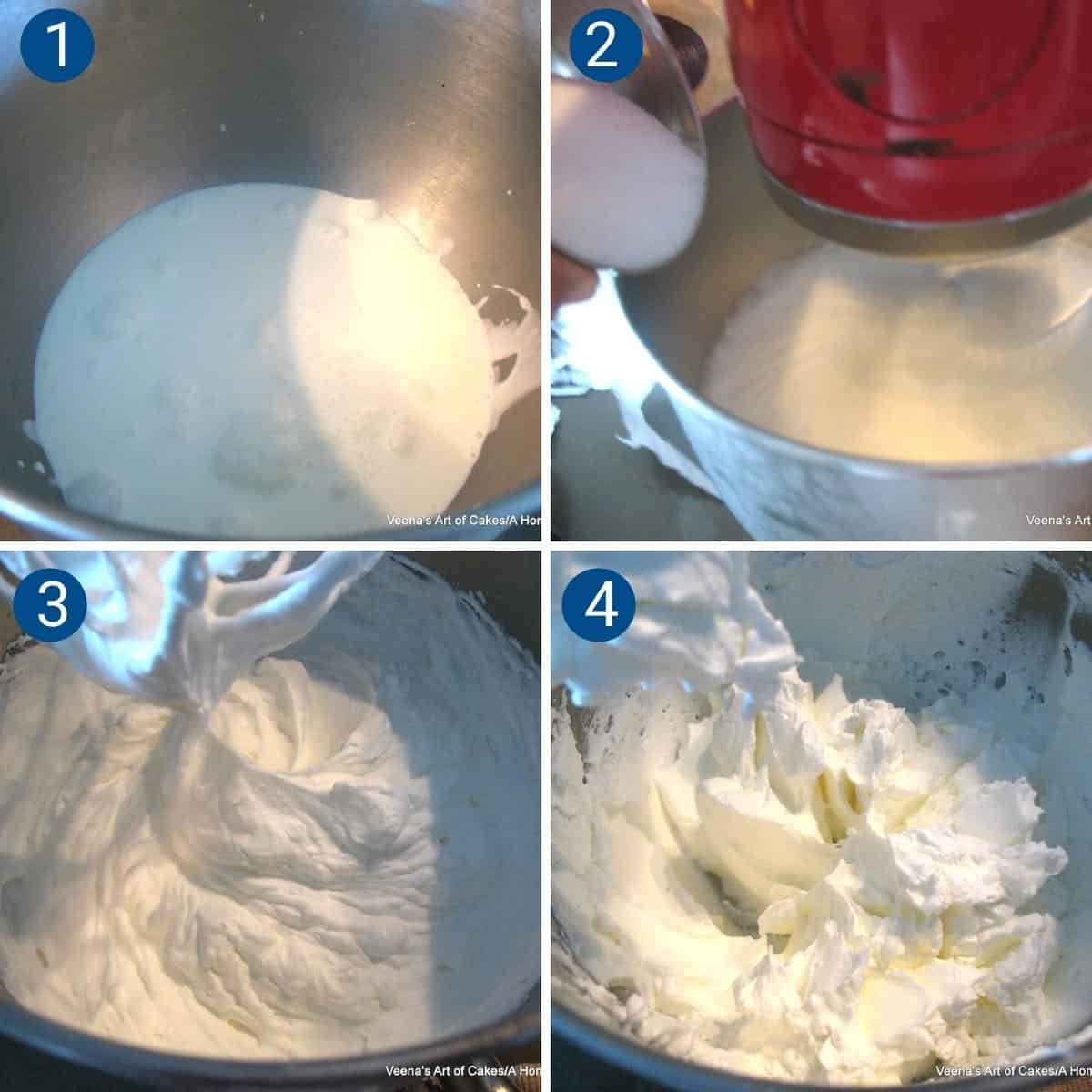 Progress Pictures collage how to make whipped cream?