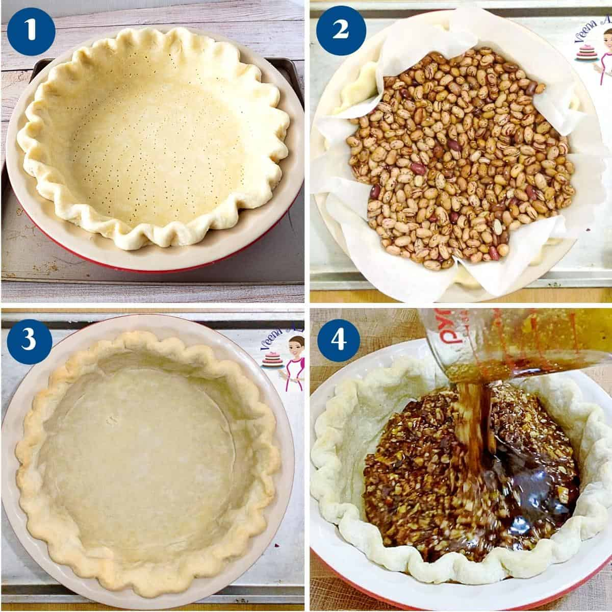 Progress Pictures collage how to blind bake a pie crust.