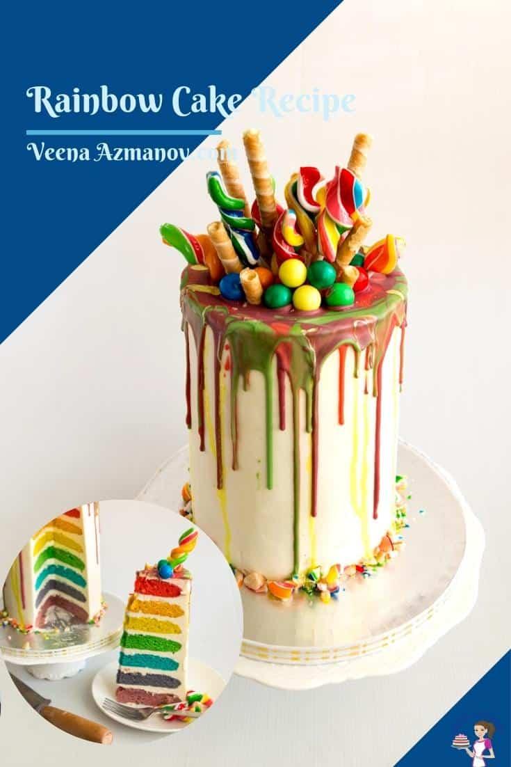 Pinterest image for rainbow layer cake