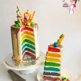A slice of decorated rainbow cake on a plate.