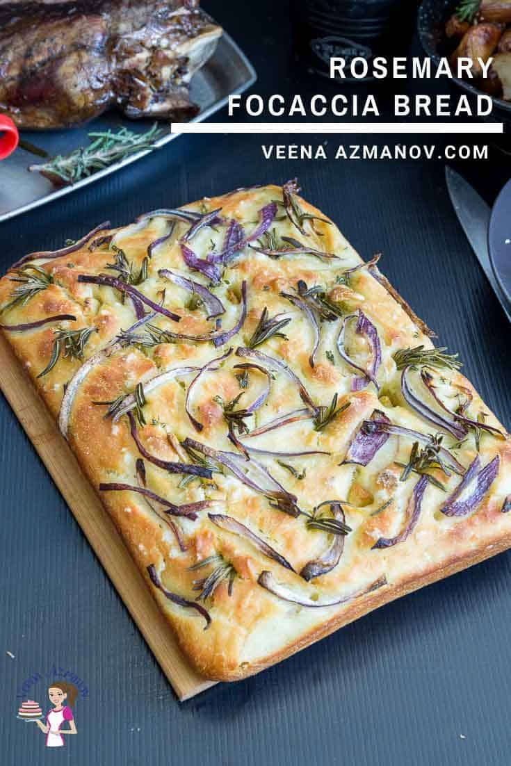 Focaccia bread with rosemary and Spanish onions.