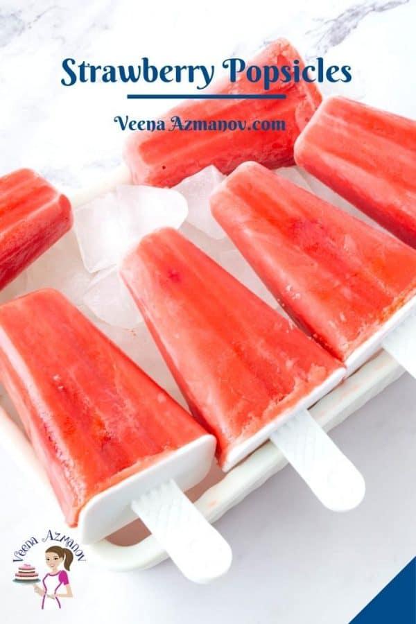 Pinterest image for strawberry popsicles.