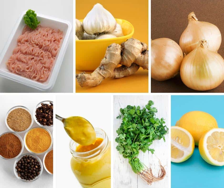 A collage of the ingredients for making turkey burgers.