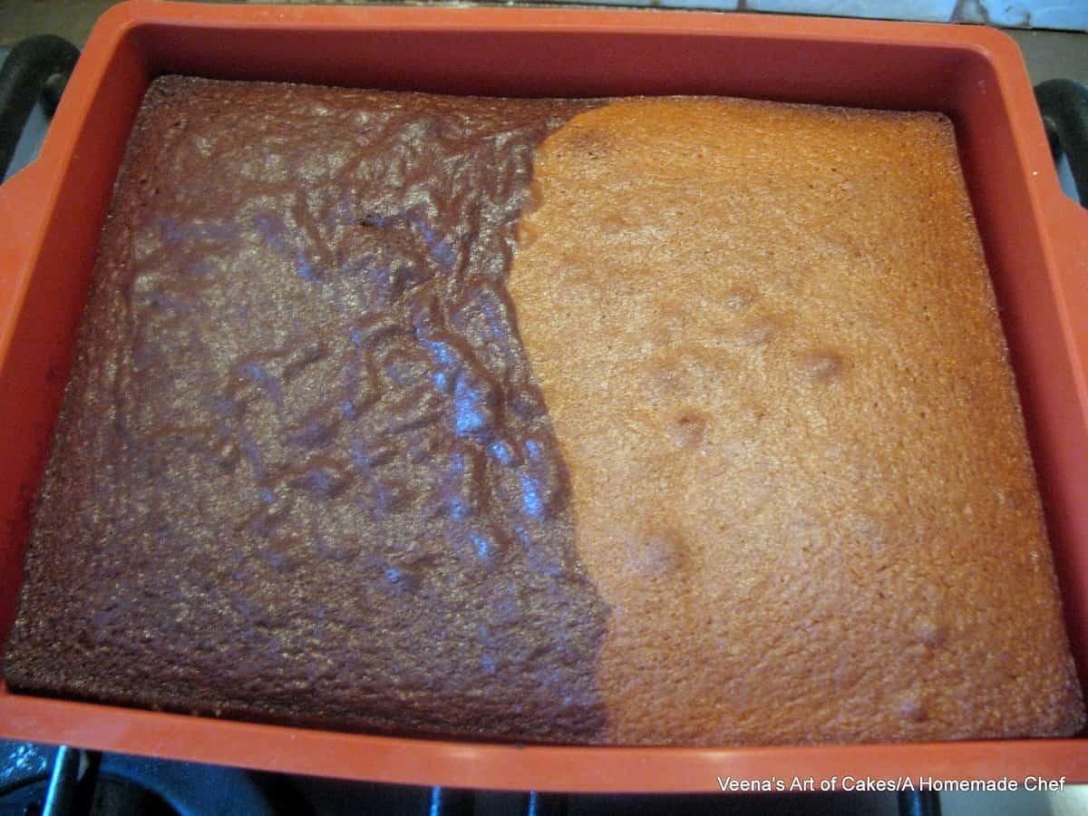 Chocolate Vanilla Sheet Cake - Half and Half Recipe - Veena Azmanov