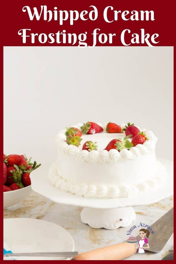 Strawberry cream cake with whipped cream frosting.