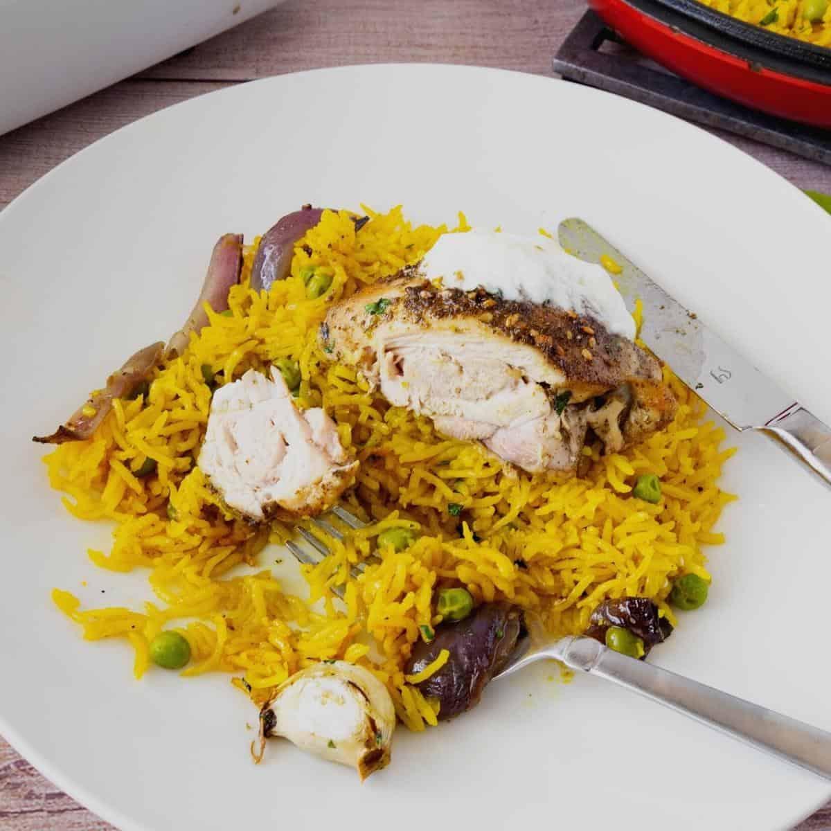Chicken served over rice