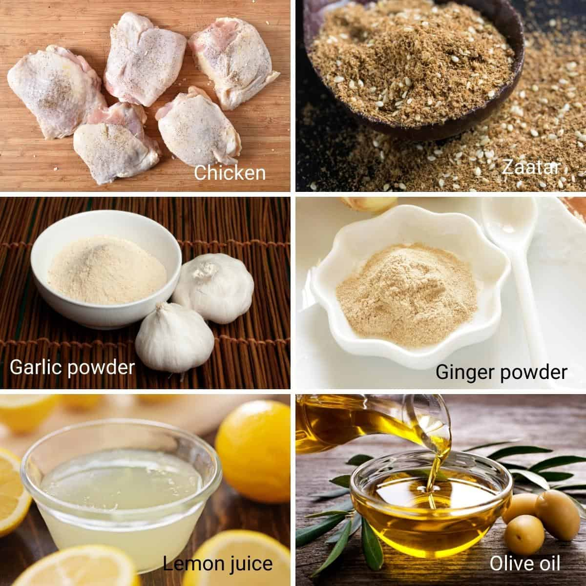Ingredients Shot collage for zaatar chicken.