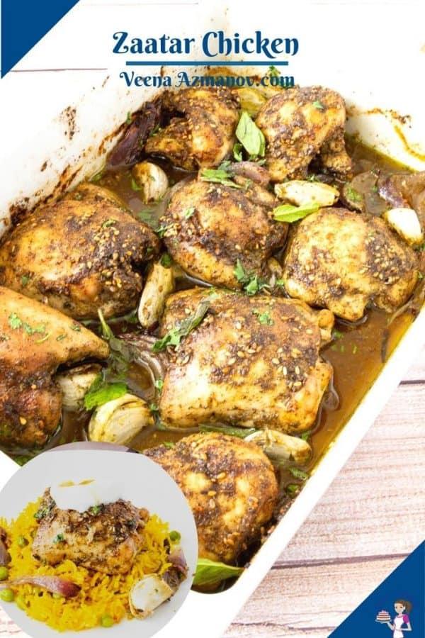 Pinterest image for zaatar chicken.
