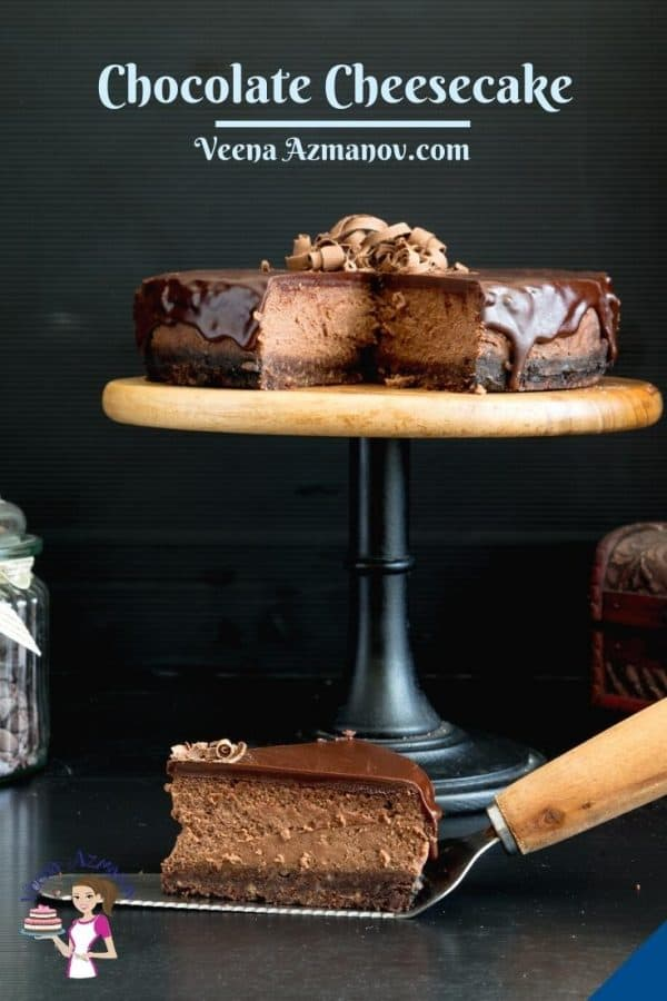 Pinterest image for baked cheesecake with chocolate.
