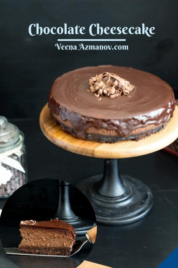 Pinterest image for chocolate cheesecake.