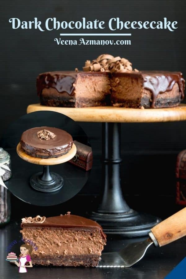 Pinterest image for baked chocolate cheesecake.