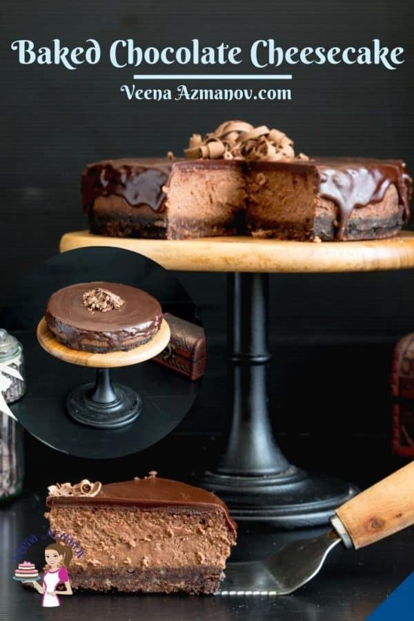 A baked cheesecake on a cake stand.