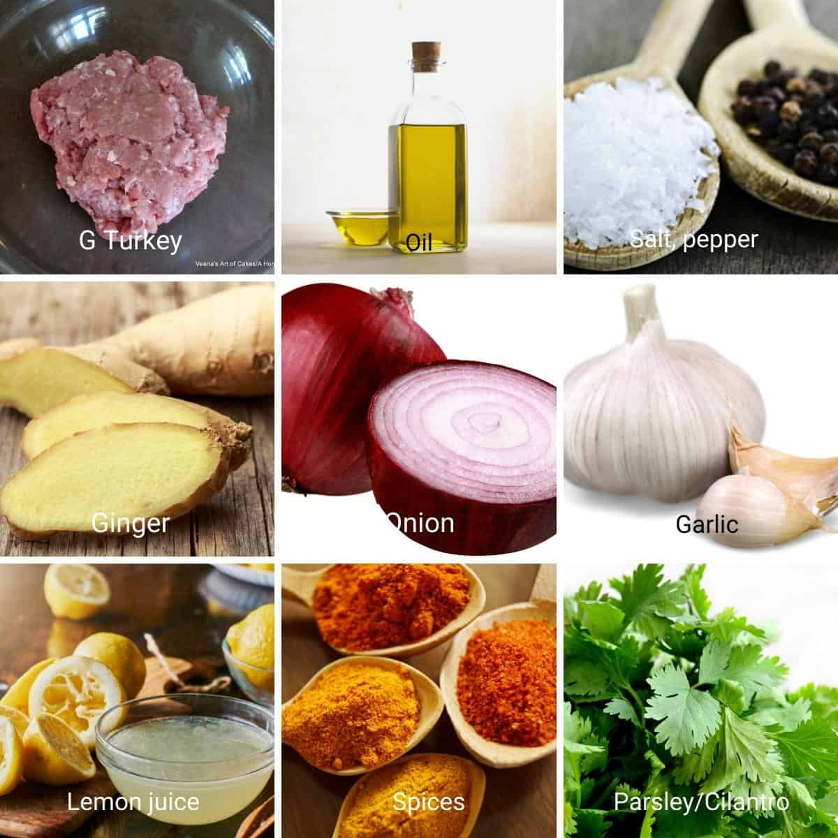 Ingredients shot collage for kebabs.