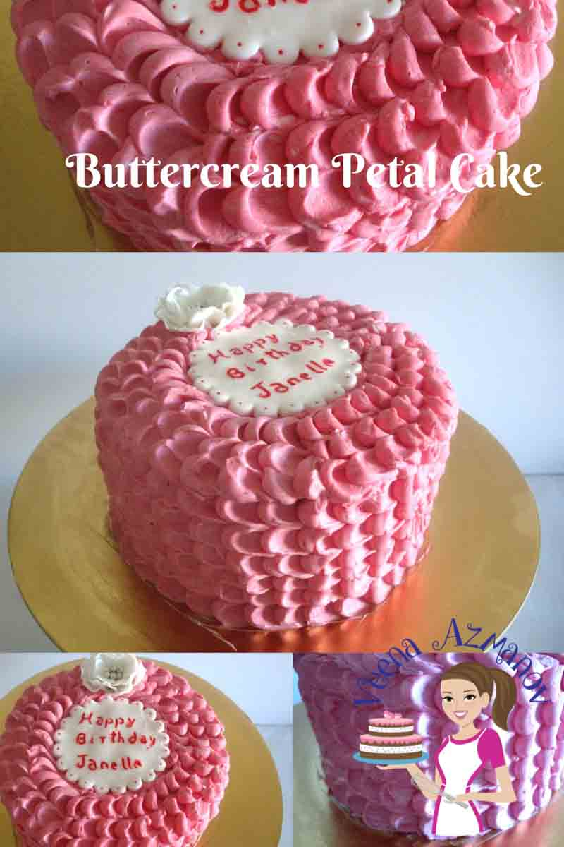 A buttercream rose petal cake or petal cake is a fun cake to make for a quick and simple birthday celebration cake. The technique is simple but a little time consuming. However once you start with it - it really does to quick and easy.
