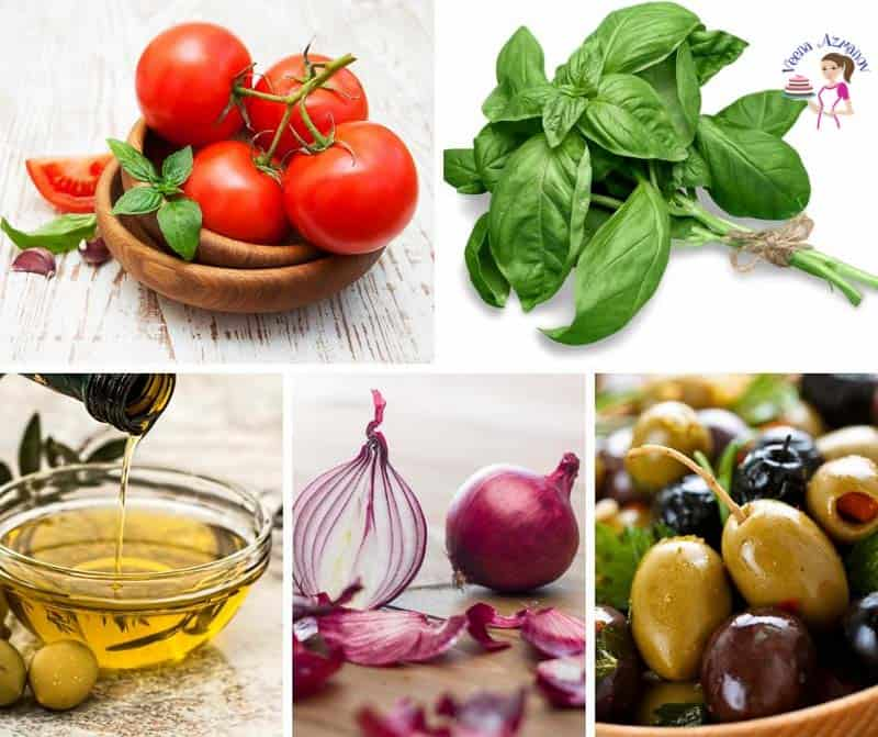 A collage of the ingredients for making pasta with cherry tomatoes and olives.