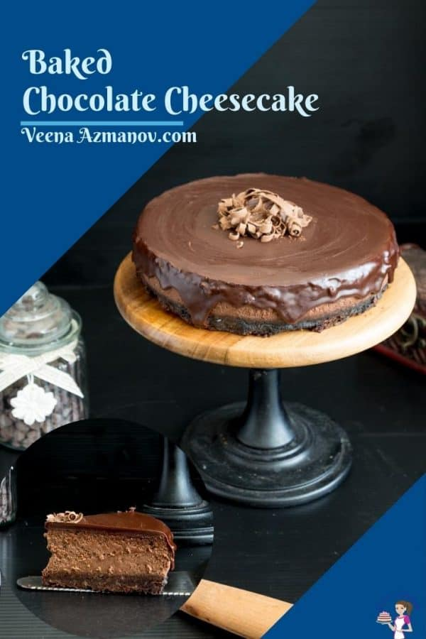 Pinterest image for chocolate cheesecake