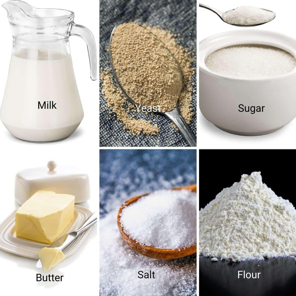 Ingredients Shot collage for Dinner Rolls.