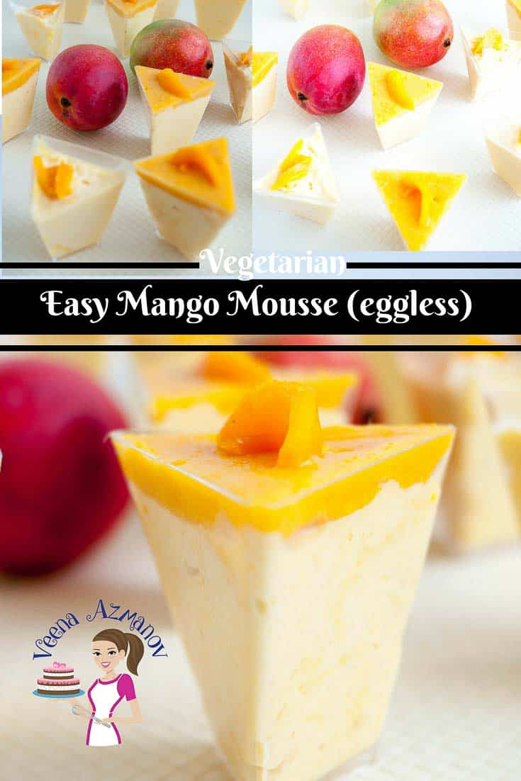 A Pinterest Optimized image for Eggless Mango Mousse recipe made with fresh mangoes and mango jello