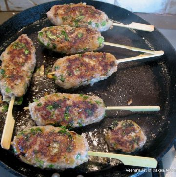 Kebabs on a grill made with ground turkey.