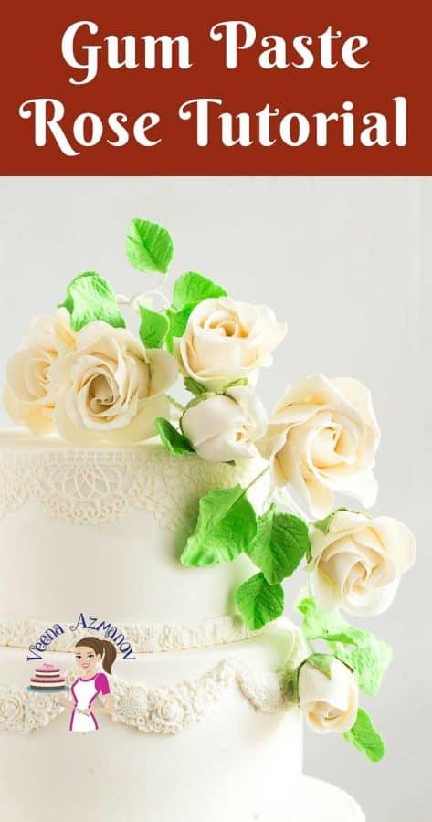 White gum paste roses.