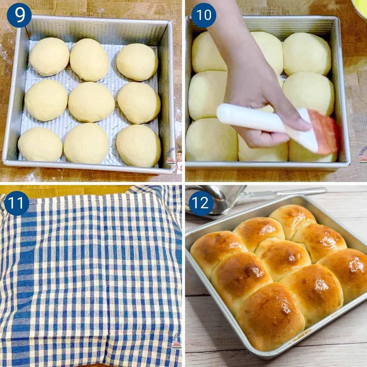 Progress pictures collage baking dinner rolls.