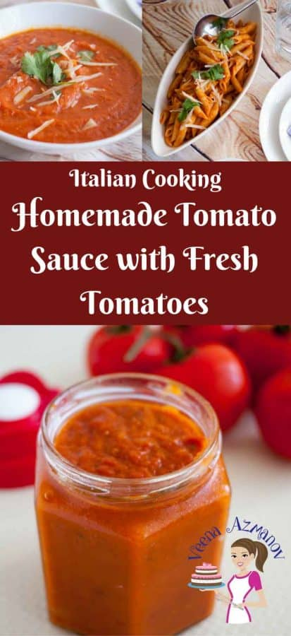An image optimized for social sharing for this homemade tomato sauce made with fresh tomatoes with a little trick on how to get a deep bright red color.