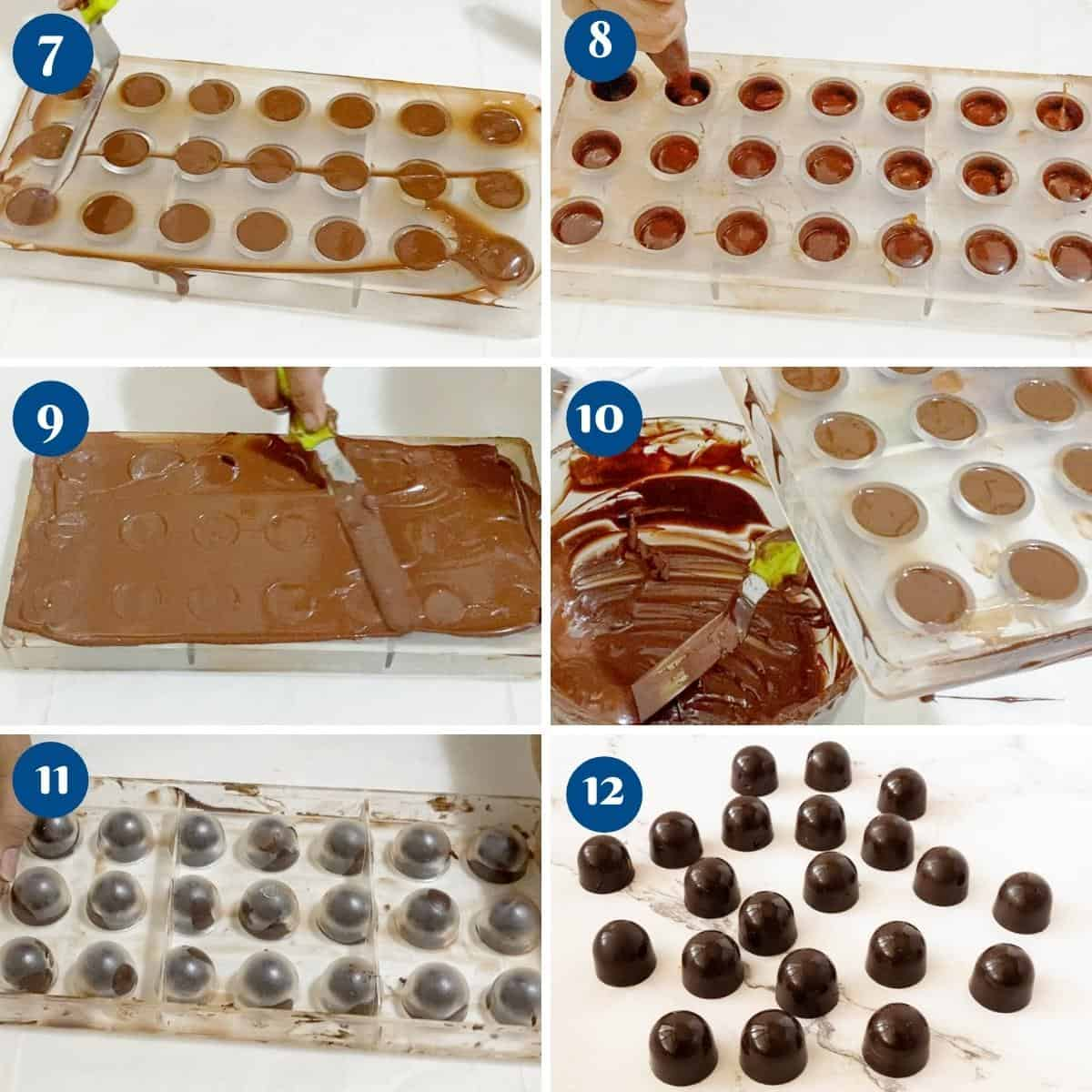 Progress pictures collage how to temper chocolate.