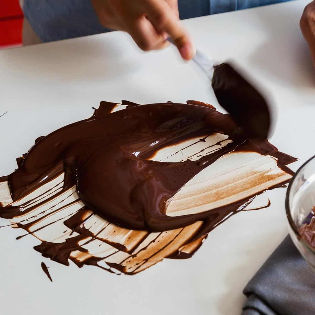 Tempering chocolate on the marble
