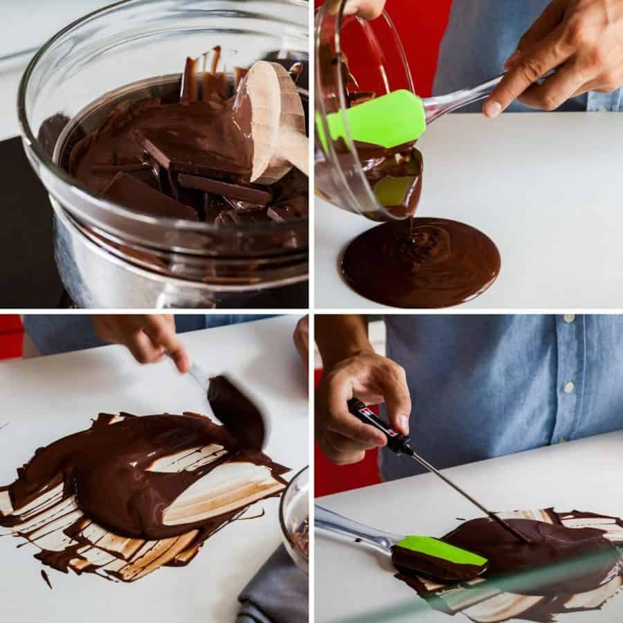 Tempering chocolate using the table method collage