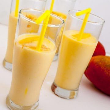 Glasses of mango lassi.