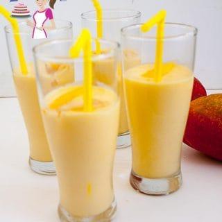 Glasses of mango lassi.