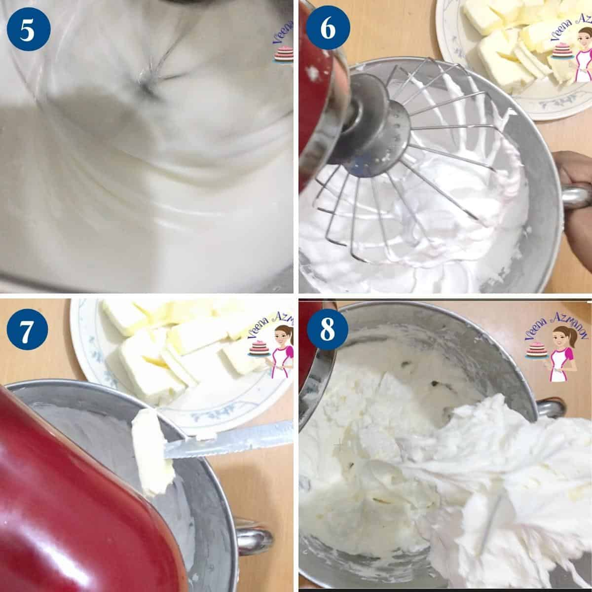 Progress pictures adding butter to the Swiss meringue.