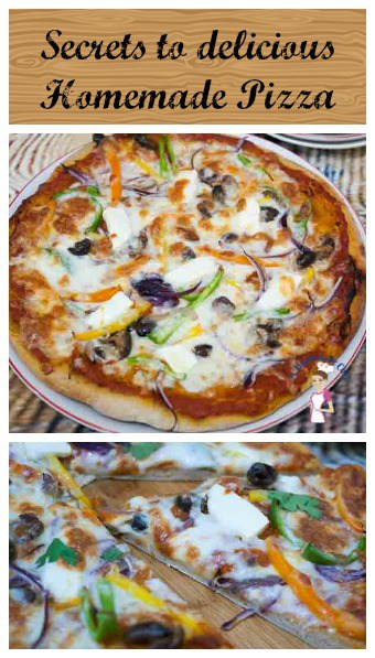 An image optimized for social sharing for this homemade pizza dough recipe with step by step tutorial and progress pictures so you can make the best homemade pizza every single time.