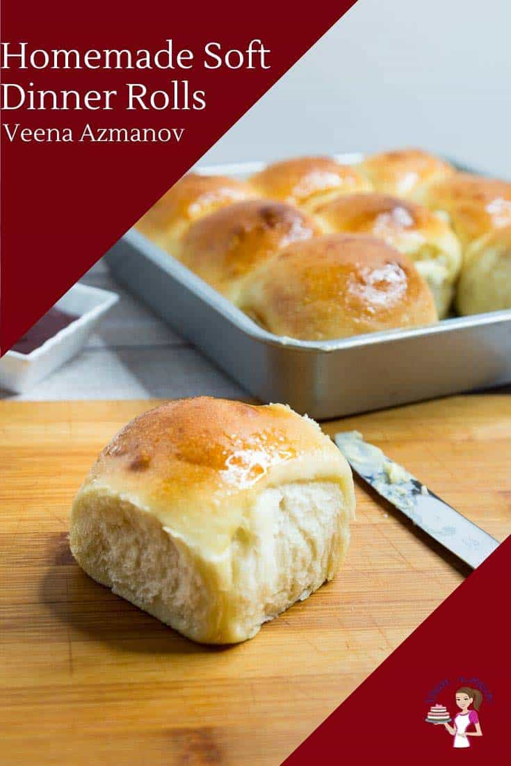 Buttery, fluffy and soft dinner rolls are the best to have on hand with any main course. They make perfect homemade bread for sandwiches and snacks for kids during the day. This recipe needs only 6 ingredients, 10 minutes to prep and 20 minutes to bake with some proofing time in between. #homemadebread #dinnerrolls #softdinnerrolls #breadrolls #bread #breadrecipes via @Veenaazmanov
