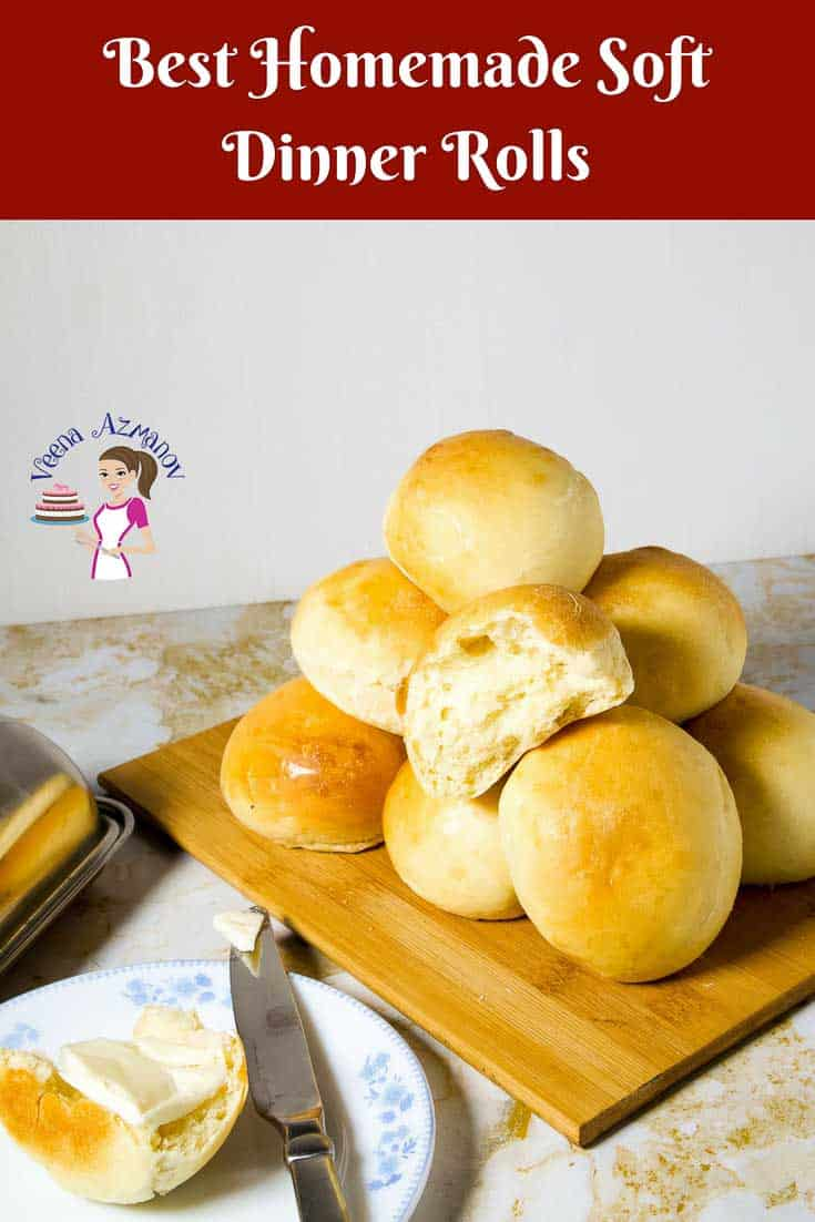 A Pinterest Optimized image for Soft Dinner Rolls Recipe, these are the best homemade dinner rolls that make perfect accompaniment with an meal.