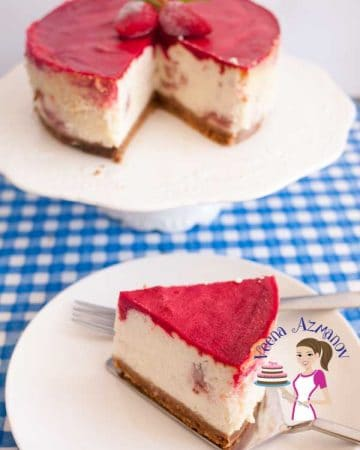 A piece of strawberry jello cheesecake on a plate.