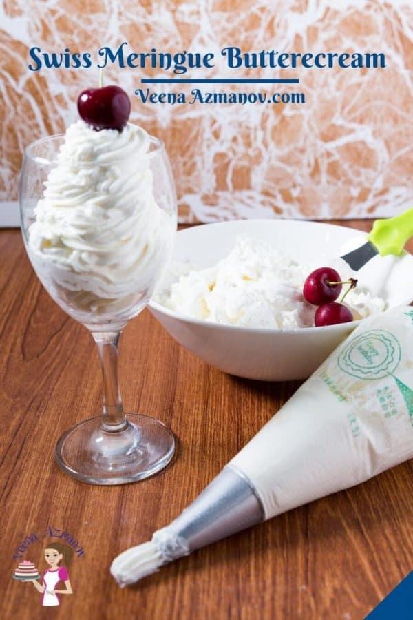 Pinterest image for meringue buttercream frosting.