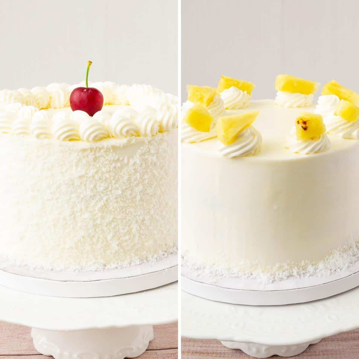 Two cakes frosted with Swiss meringue Buttercream.
