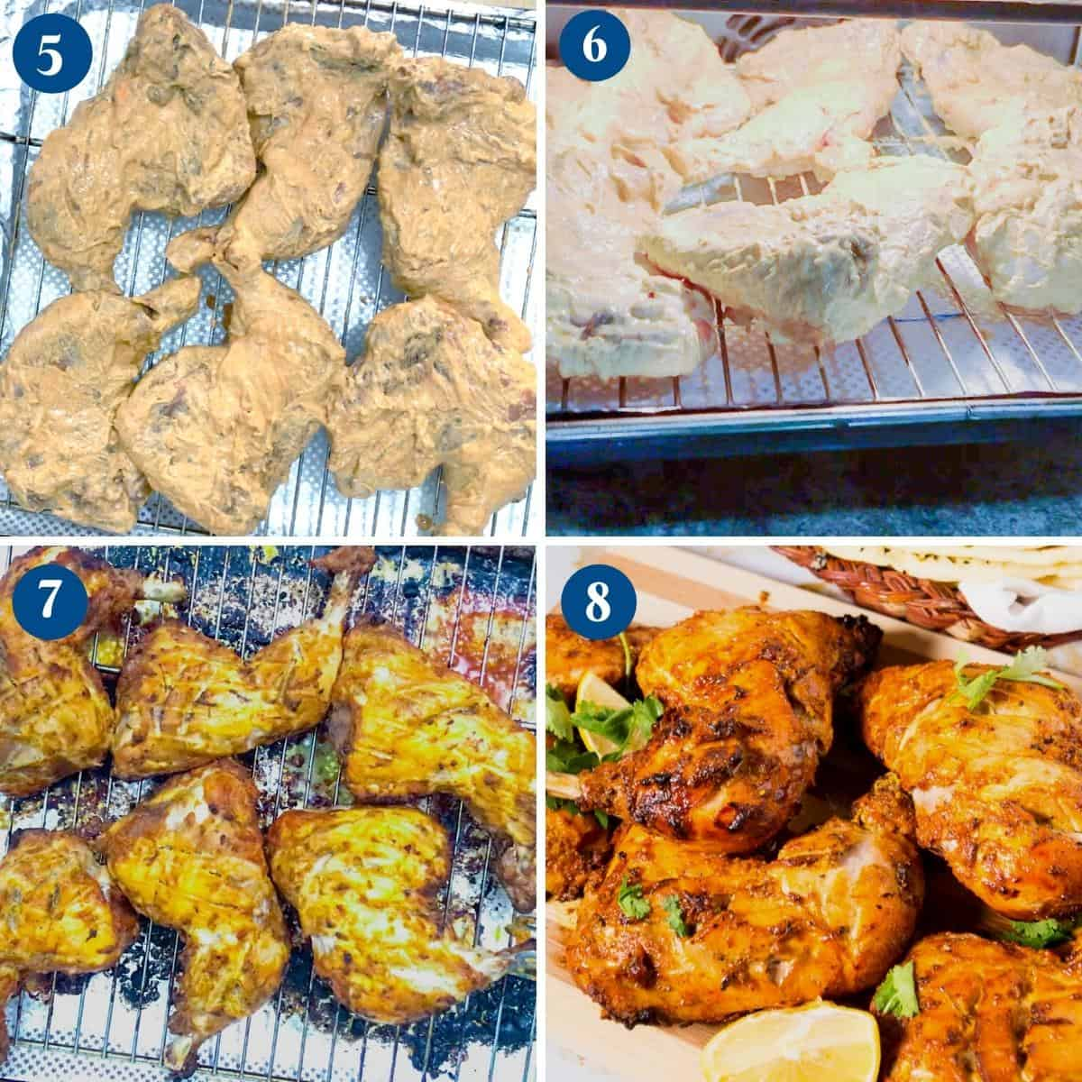 Progress pictures for chicken tandoori.